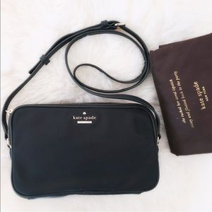 Kate Spade Black Camera style nylon crossbody bag